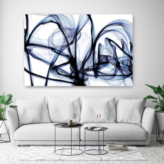 "10287-10-32 BlueTech 2017-04-14, New Media Art, Blue Abstract Canvas Print, Extra Large Abstract Canvas Art Print up to 90"" by Irena Orlov"