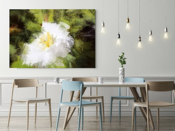 "Blossoms Light in Garden. Floral Painting, White Green Floral Canvas Art Print up to 72"" by Irena Orlov"