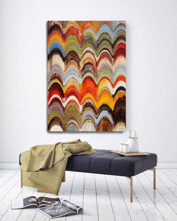 """5382-5 Wavy Blends. Geometrical Abstract Art, Wall Decor, Large Abstract Colorful Contemporary Canvas Art Print up to 72"""" by Irena Orlov"""
