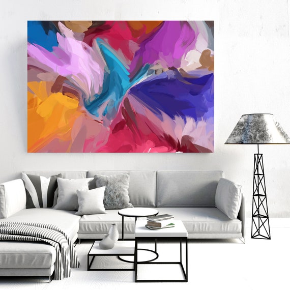 Acceleration Colorful Abstract Painting Yellow Red Blue / Large Abstract Art / Abstract Art / Cheerful Abstract Art, Fluid painting