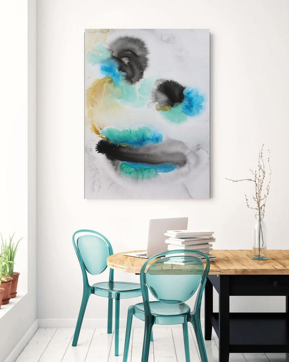 """Watercolor Symphony 96. Watercolor Abstract Yellow Black Blue Aqua Canvas Art Print up to 72"""" by Irena Orlov"""