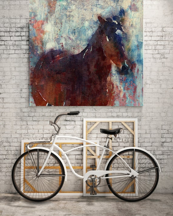 """Wild Brown Horse. Large Horse, Unique Horse Wall Decor, Brown Rustic Horse, Large Contemporary Canvas Art Print up to 48"""" by Irena Orlov"""