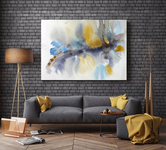 "ORL-7950 Dreamtime. Watercolor Abstract, Modern Wall Decor, Large Abstract Colorful Contemporary Canvas Art Print up to 72"" by Irena Orlov"
