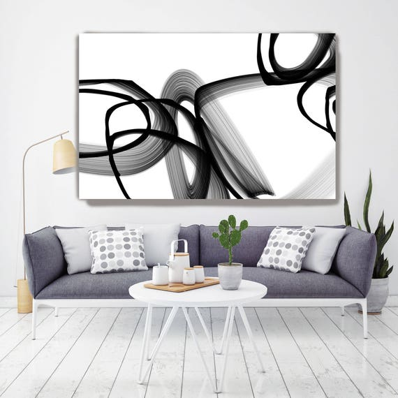 "Abstract Expressionism in Black And White 8. Unique Abstract Wall Decor, Large Contemporary Canvas Art Print up to 72"" by Irena Orlov"