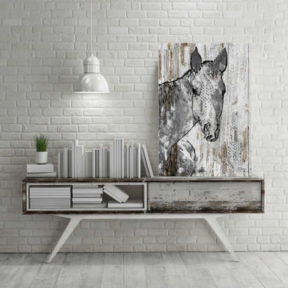"Beauty. Extra Large Horse, Unique Horse Wall Decor, White Grey Rustic Horse, Large Contemporary Canvas Art Print up to 72"" by Irena Orlov"