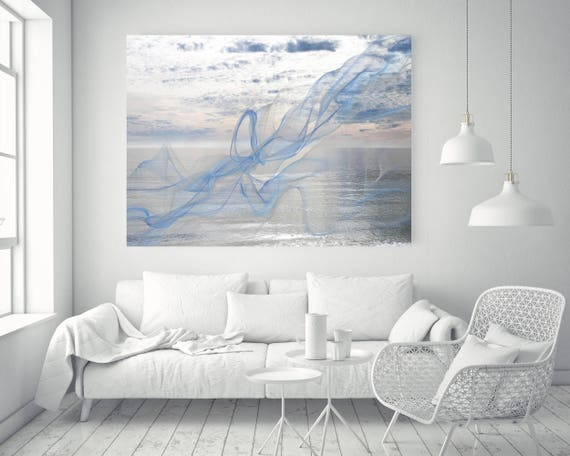 "ORL-11590-2 Silver ocean breeze 7. Extra Large Contemporary Blue Canvas Art Print, Seascape Abstract Canvas Art up to 80""  by Irena Orlov"