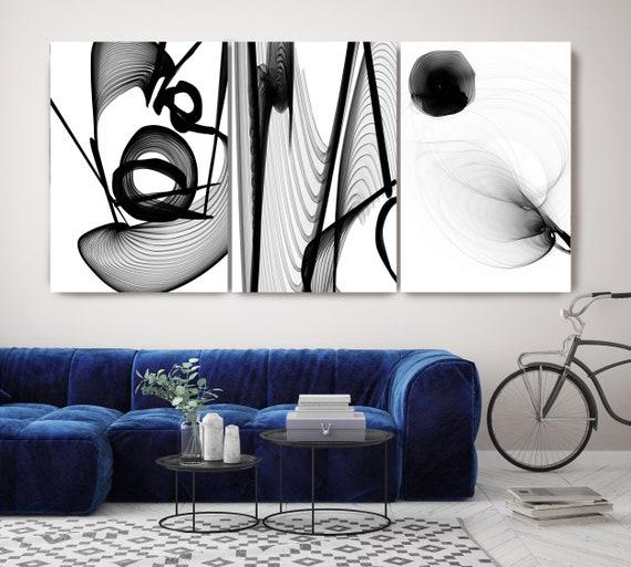 Black and White TRIPTYCH canvas art prints -3 panels Stretched Canvas Wall Art, Canvas Art Print, Abstract Black Wall Decor