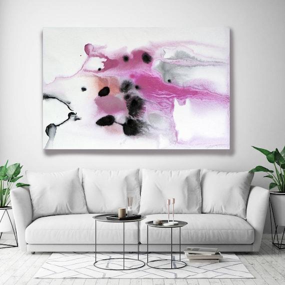 "Coastal Watercolor Abstract 66-2. Watercolor Abstract Gray Pink Black, Watercolor Painting Print Canvas Art Print up to 72"" by Irena Orlov"