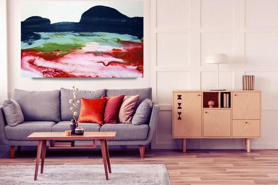 Early Sunrise, Blue Red landscape painting, landscape art print, rustic landscape Canvas Print, Rural Landscape