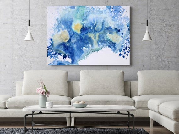 "ORL-11783-1 Blue - Abstract Watercolor. Watercolor Abstract, Extra Large Abstract Canvas Art Print up to 72"" by Irena Orlov"