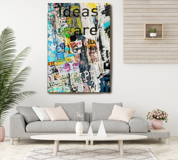 Graffiti Art, Street Art, Pink Gold Street Art Painting Print on Canvas, Large Canvas Print, Urban Canvas Print, Ideas are cheap