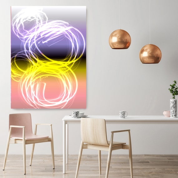 "Mysterious Light 62, Neon Purple Yellow Pink Contemporary Lines Wall Art, Extra Large New Media Canvas Art Print up to 72"" by Irena Orlov"