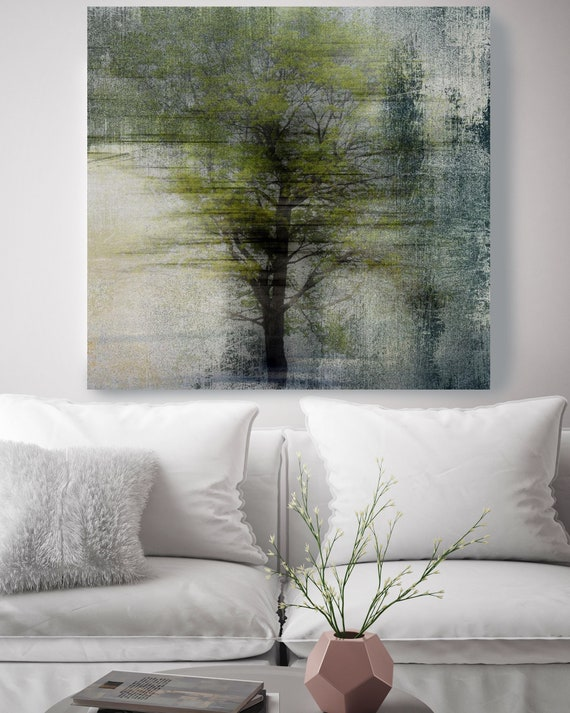 "Absolute Silence. Huge Rustic Landscape Painting Canvas Art Print, Extra Large Beige Green Canvas Art Print up to 50"" by Irena Orlov"