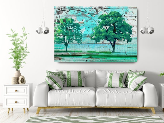 Solitude. Huge Rustic Landscape Painting Canvas Art Print, Extra Large Blue Green Scenic Canvas Art Print, Teal Trees
