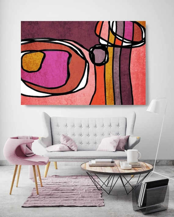 "Vibrant Colorful Abstract-0-66. Mid-Century Modern Red Pink Canvas Art Print, Mid Century Modern Canvas Art Print up to 72"" by Irena Orlov"