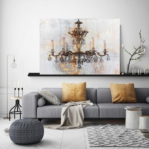 Rustic Yellow Brown Chandelier, Chandelier painting, Shabby Chic chandelier, Brown Chandelier Canvas Print, Chandelier Wall Decor