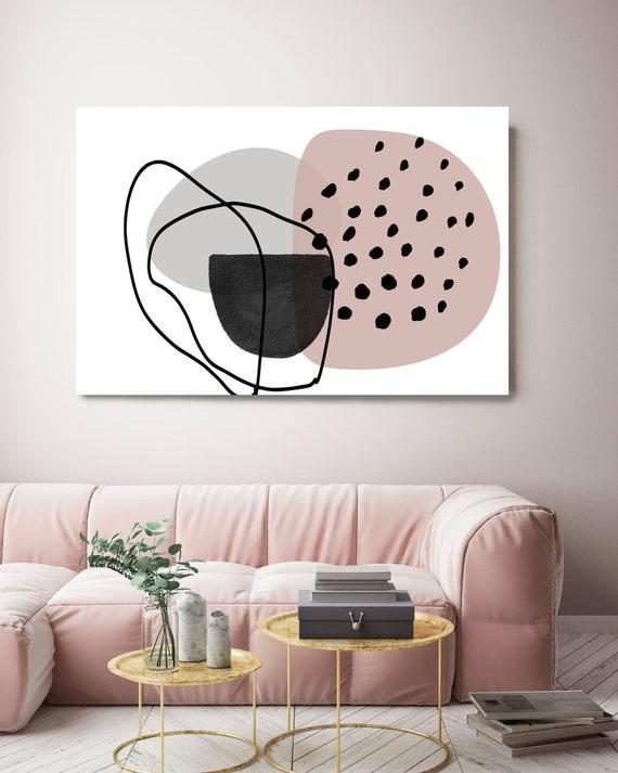 Pink Lines Minimalism. Line Art Modern Gray Pink Canvas Art Print Scandinavian print Minimalist abstract Wall decor Pink Gray Minimalist Art