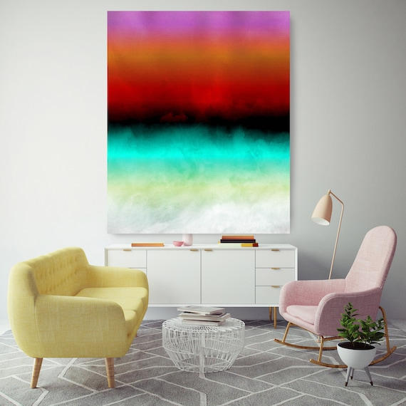 Abstract Minimalist Rothko Inspired 1-48. Abstract Painting Giclee of Original Wall Art, Blue Red Green Large Canvas Art Print up to 72""