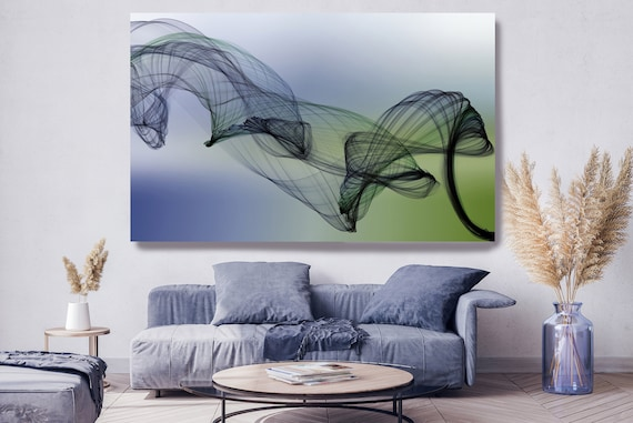 Green Blue Abstract Painting Flow Abstract Art, Contemporary Canvas Art Print, New Media Artwork The Invisible World-Movement 8, Line Art