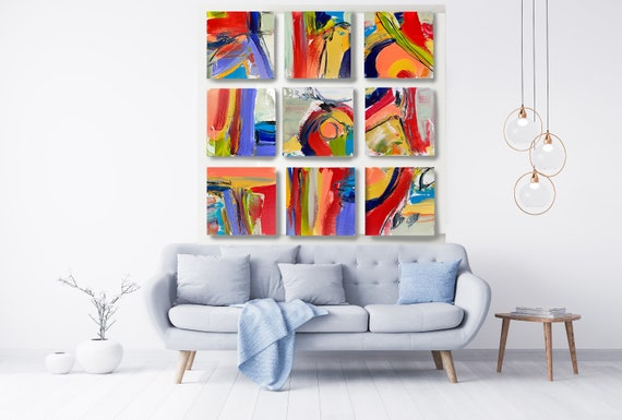 Joyful Modernist Abstraction, Trendy Canvas Block Wall Art Abstract Canvas Print -Commercial Art Installation- Vibrant Colorful Set of 9
