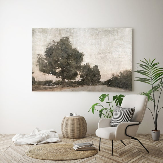 "landscape painting, landscape watercolor, landscape art print, rustic landscape, Canvas Print, ""November Morning Mist 2"" Irena Orlov"