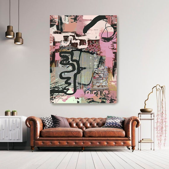 Graffiti Wall Art Pink Street Art Painting Print on Canvas, Large Canvas Print, Urban Canvas Print, The puzzle Pink
