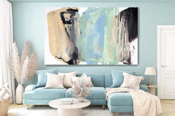 Teal Pastel Modern Abstract Wall Art Decor, Abstract Vivid Painting Canvas Print, Abstract Painting Art, bright layers Wall Art for Home