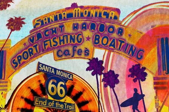 "Santa Monica Pier at night. Canvas Print by Irena Orlov 40x30"""