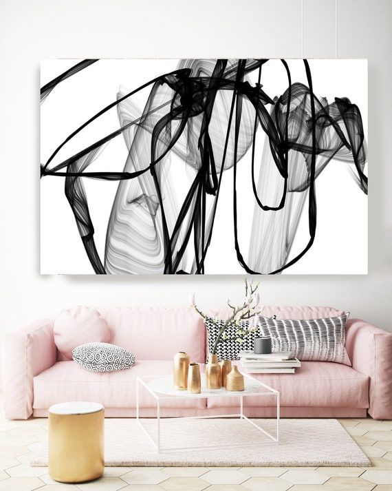 Minimalist Black and White,Large canvas art Black and White Abstract Painting, large Abstract Canvas Print, Large Wall Art, Hand Textured BW