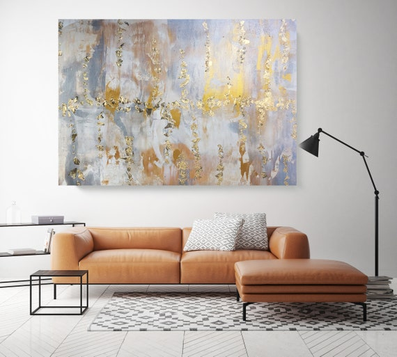 Gold Leaf Silver Abstract Painting Gold Silver Modern Art Abstract Painting Extra Large Gold Silver Painting Abstract Canvas Print