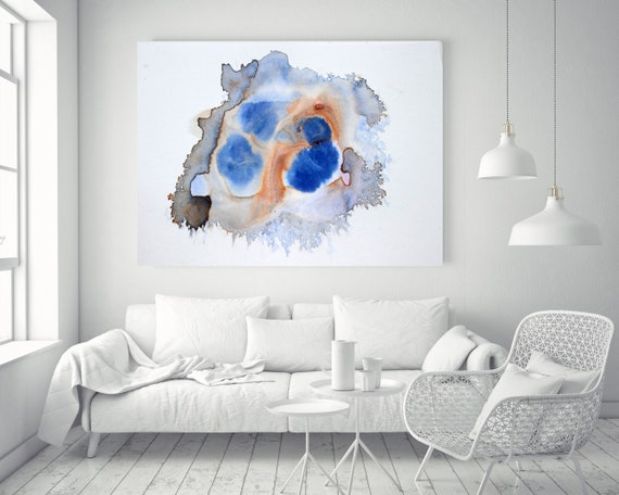 "ORL-11873-2 Blue Dots Watercolor abstract splash 1. Watercolor Abstract Brown Blue Orange Canvas Art Print up to 72"" by Irena Orlov"