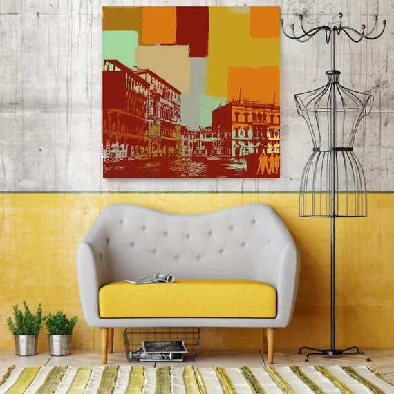 """Houses. Large Architectural Cityscape Canvas Art Print. Colorful Brown URBAN Canvas Art Print up to 48"""" by Irena Orlov"""