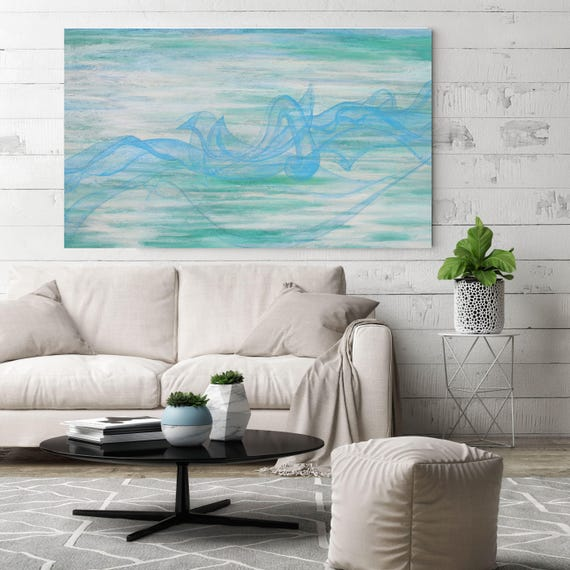 The Foaming Waves. Original Textured Acrylic Seascape Abstract Canvas Wall Art 30 x 48 inches