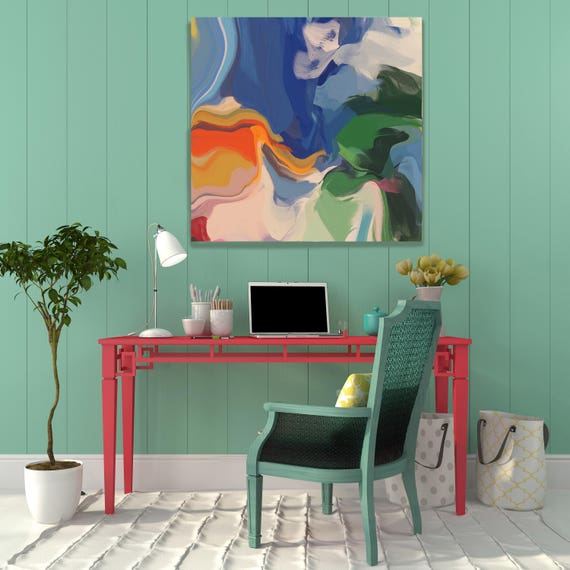 """Colorful Chaos 21. Original Oil Painting on Canvas, Contemporary Abstract Green, Blue, Yellow Oil Painting up to 50"""" by Irena Orlov"""
