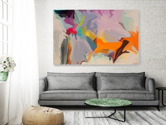 Original Art, Abstract, Canvas Print, Trending Now, Orange Pink Blue Red Painting Extra large Acrylic Painting on Canvas, Spectrum Orange