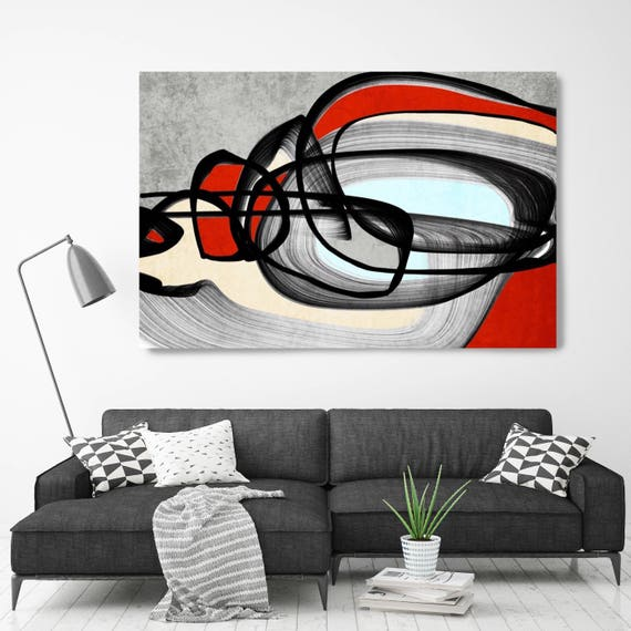 "Vibrant Colorful Abstract-0-51. Mid-Century Modern Red Black Canvas Art Print, Mid Century Modern Canvas Art Print up to 72"" by Irena Orlov"