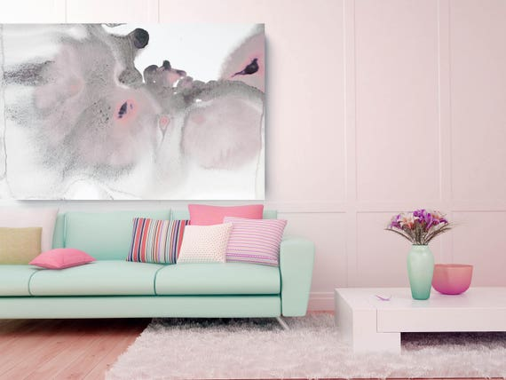 "Timeless Elegance. Pink Abstract Paintings Art, Extra Large Abstract Pink Gray Contemporary Canvas Art Print up to 72"" by Irena Orlov"