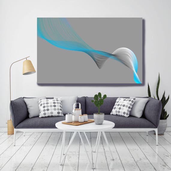 "Air Breeze 4. Abstract New Media Art, Wall Decor, Extra Large Abstract Gray Blue Contemporary Canvas Art Print up to 72"" Irena Orlov"