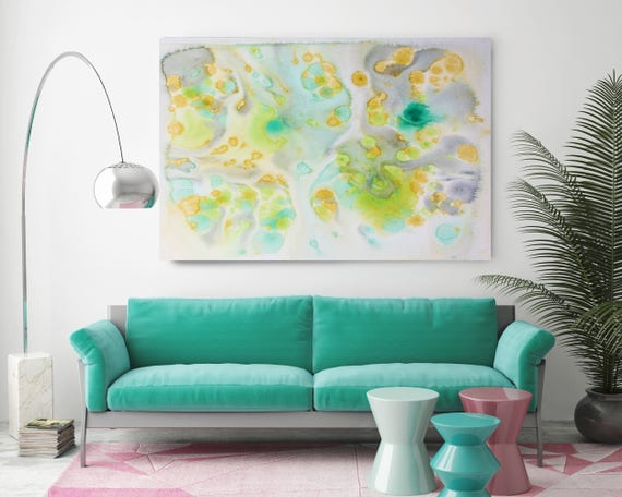 "Coastal Watercolor 4. Contemporary Abstract Green Aqua Canvas Art Print up to 72"", by Irena Orlov"