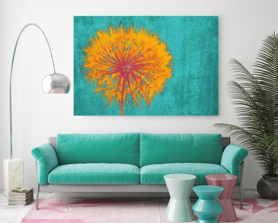 "Dandelion. Floral Painting,Turquoise Yellow Abstract Art,  Abstract Colorful Contemporary Canvas Art Print up to 72"" by Irena Orlov"