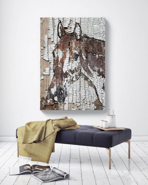 "The Observer. Extra Large Horse, Unique Horse Wall Decor, Brown Rustic Horse, Large Contemporary Canvas Art Print up to 72"" by Irena Orlov"