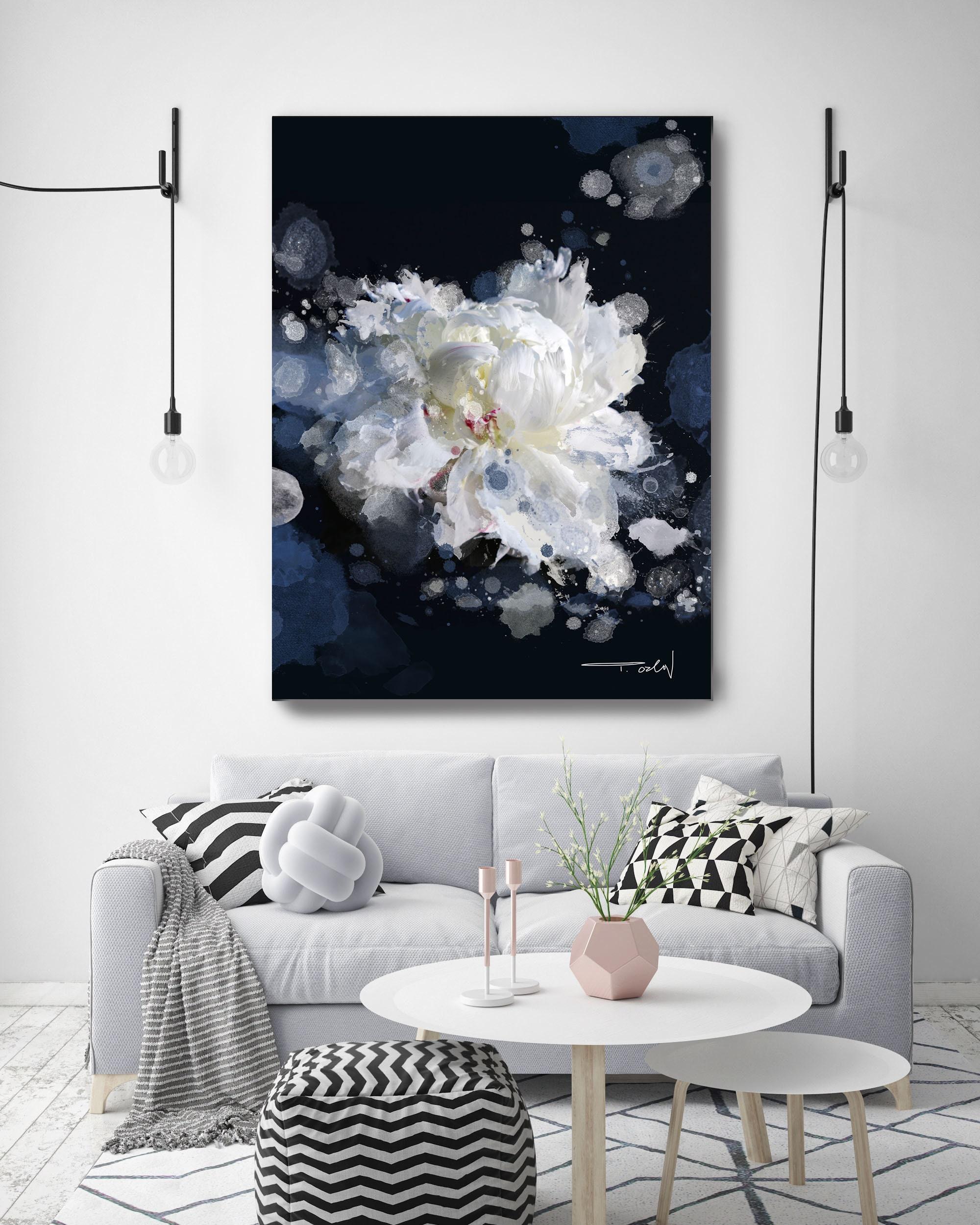 Breathless 2 Floral Painting Print Black Blue White Floral Art