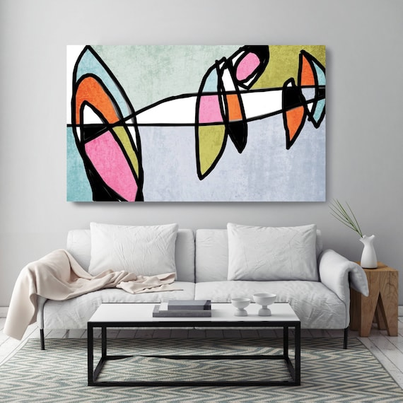"Vibrant Colorful Abstract-0-20. Mid-Century Modern Gray Pink Canvas Art Print, Mid Century Modern Canvas Art Print up to 72"" by Irena Orlov"