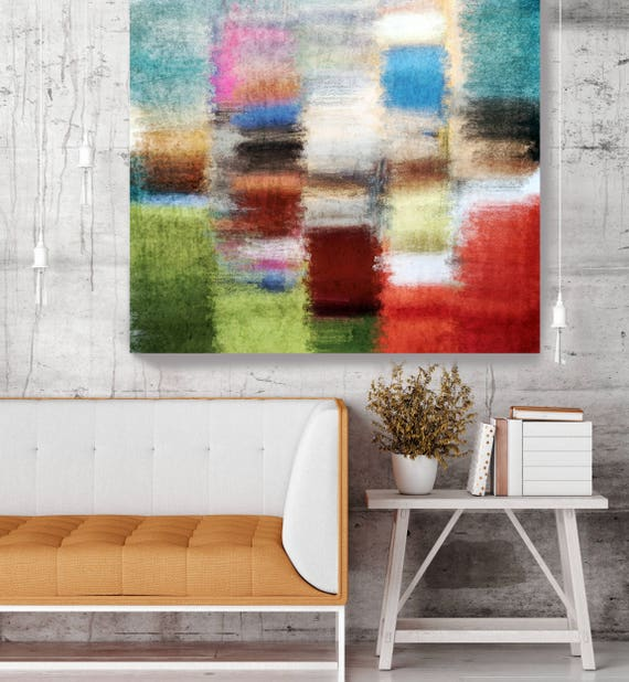 "Abstract 4793-6. Red Blue Abstract Art, Wall Decor, Large Abstract Colorful Contemporary Canvas Art Print up to 48"" by Irena Orlov"