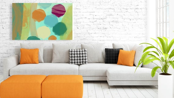 """Abstract Circles 674-2. Geometrical Abstract Art, Wall Decor, Large Abstract Colorful Contemporary Canvas Art Print up to 72"""" by Irena Orlov"""