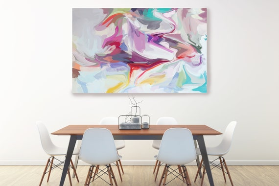 Energy surrounding your life 2, Hot Pink Radiant Art, Abstract painting, Colorful painting, modern art, Canvas Art Print, Fluid painting