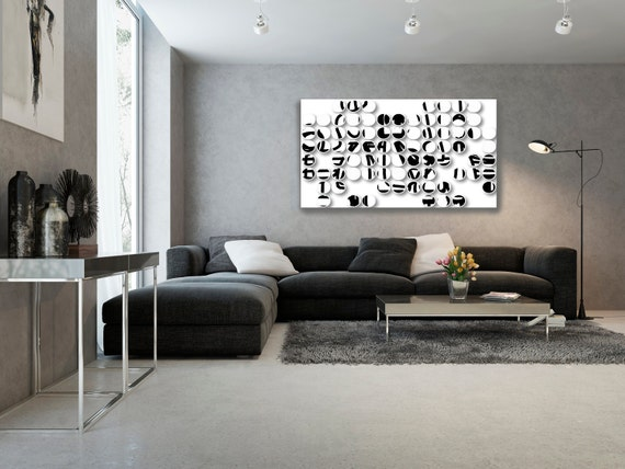 """Industrial Mixed Media Circles 808-2. Abstract Black and White, Wall Decor, Large Contemporary Canvas Art Print up to 72"""" by Irena Orlov"""