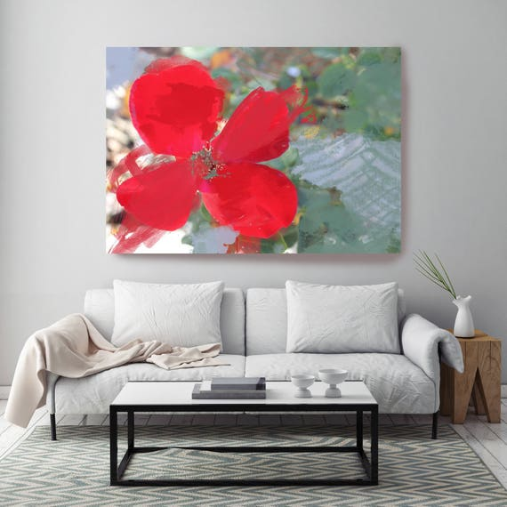 """Red Touch. Floral Painting, Red Green Floral Art, Wall Decor, Abstract Colorful Contemporary Canvas Art Print up to 72"""" by Irena Orlov"""