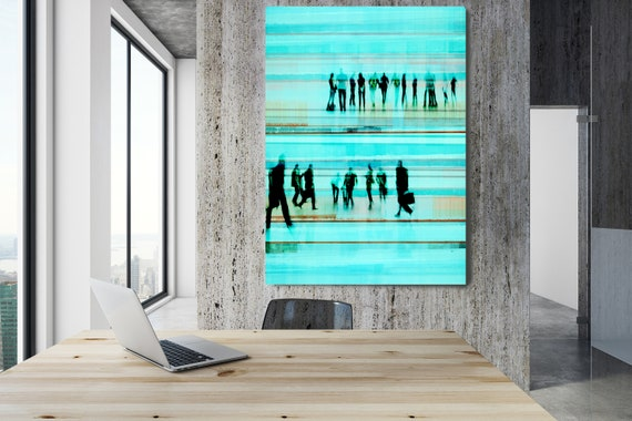"Going To Work 4,  Art for Your Office, Office Wall Art, Teal Corporate Office Decor, Extra Large Canvas Art Print up to 72"" by  Irena Orlov"