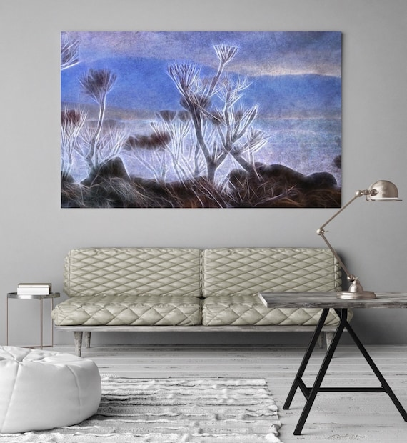 "Blue Dream. Huge Rustic Landscape Painting Canvas Art Print, Extra Large Blue Brown White Black Canvas Art Print up to 80"" by Irena Orlov"